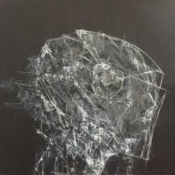 Ajim Juxta - Penghuni Distopia: Sisi Kepala Perisai Tempur ii (2018) - Acrylic on Canvas - 61 x 61 cm