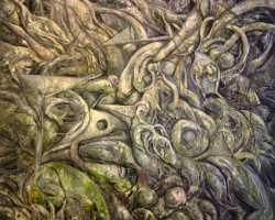Ajim Juxta - Distopia: Tenang Gelumang (2014) - Acrylic on canvas - 183 x 152 cm