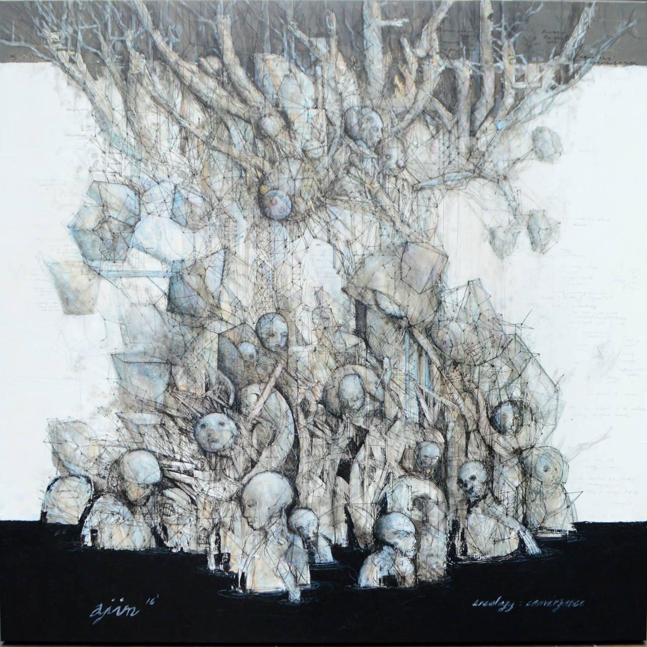 Ajim Juxta - Arcology: Convergence (2016) - Acrylic, Indian Ink & Pen on Canvas - 122 x 122 cm