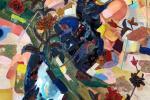 Haris Rashid - Fusion (2016) - Acrylic, Multiple Fabrics and Wood on Wood Panel - 122 x 86 cm
