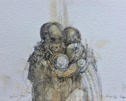 Ajim Juxta - Dystopian Series: Family Hug (2019) - Ink & Coffee on Watercolor Paper - 14.8 x 21 cm