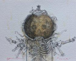 Ajim Juxta - Dystopian Series: Lone (2019) - 14.8 x 21 cm - Ink & Coffee on Watercolor Paper