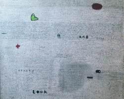 Indra Dodi - White Text (2017) - Acrylic on Canvas - 80 x 70 cm