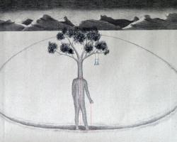 Syahbandi Samat - Bare with me (Uncertain) (2019) - Ballpoint Pen on Canvas - 46 x 83 cm