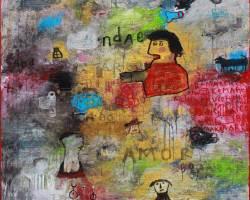 Indra Dodi - Note in the Rain No 2 (2017) - Acrylic on Canvas - 200 x 180 cm