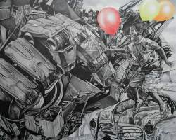 Robi-Fathoni - My Game (2017) - Pencil on Canvas - 150 x 180 cm