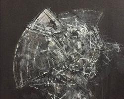 Ajim Juxta - Penghuni Distopia: Sisi Kepala Perisai Tempur i (2018) - Acrylic on Canvas - 61 x 61 cm