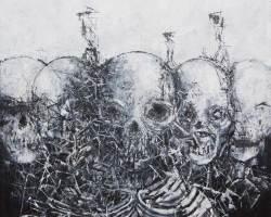 Ajim Juxta - tugu: himpit (2016) - Acrylic on Canvas - 91 x 91 cm