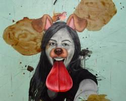 Ruzzeki Harris - Infected (2016) - Oil & Spray Paint on Canvas - 130 x 130 cm