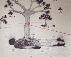 Syahbandi Samat - Field of Regret (2018) - Ballpoint Pen on Canvas  - 136 x 145 cm (SOLD)