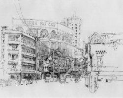 Katrina Yong - China Town Kuala Lumpur (2019) - Charcoal on Watercolor Paper - 54 x 74 cm