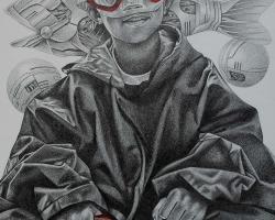 Robi Fathoni - My Dream (2016) - Pencil on Canvas - 100 x 75 cm