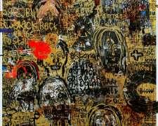 Dedy Sufriadi - Cogito Ego Text #2 (2016) - Acrylic, Marker, Oil & Oil Stick on Canvas - 150 x 150 cm