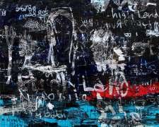 Dedy Sufriadi - Tabula Rasa Series: Highlander #3 (2018) - Acrylic, Marker, Oil Stick and Pencil on Canvas - 150 x 150 cm