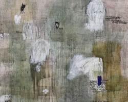 Dedy Sufriadi - Lorem Ipsum: Cogito Ego Text (2017) - Acrylic, Marker, Oilstick, Pencil & Spray Paint on Canvas - 150 x 150 cm - Art Fair Philippines 2018