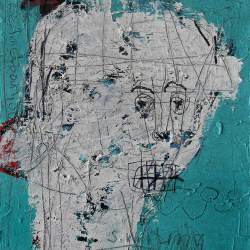 Dedy Sufriadi - Smiling Figure 21 (2018) - Acrylic, Marker, Oil Stick and Pencil on Canvas - 70 x 60 cm