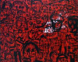 Dedy Sufriadi - Childish Series: Mode On (2020) - Acrylic-on Canvas - 150 x 150 cm