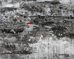 Dedy Sufriadi - Hand of God (2016) - Acrylic, Marker & Oil Stick on Canvas - 150 x 200 cm (SOLD)