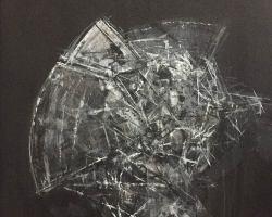 Ajim Juxta - Penghuni Distopia; Sisi Kepala Perisai Tempur i (2018) - Acrylic on Canvas - 61 x 61 cm