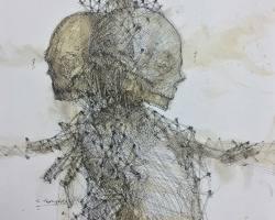 Ajim Juxta - SuperUnknown (2019) - Ink and Coffee on Paper - 25 x 25 cm