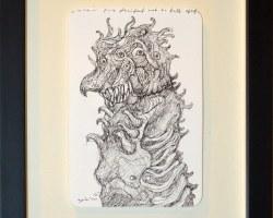 Ajim Juxta - Raksasa: Ulat (2019) - Ink on Paper - 15 x 10 cm