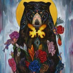 Haris Rashid, Sun Bear (2015) - Acrylic and Color Pencil on Wood - 132 x 102 cm