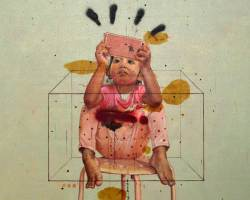 Ruzzeki Harris - Contaminated (2016) - Oil & Spray Paint on Canvas - 130 x 130 cm