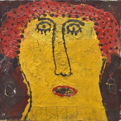 Indra Dodi - Yellow Face (2017) - Acrylic on Canvas - 31 x 31 cm (SOLD)