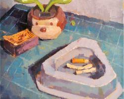 Lina Tan - Cigarette Butts in Ashtray, Flyingman Matchbox (2019) - Acrylic on Canvas - 31 x 31 cm
