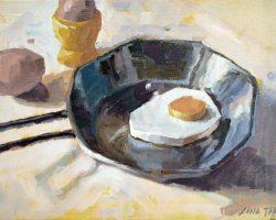 Lina Tan - Eggs (2019) - Acrylic on Canvas Board - 25 x-36 cm (SOLD)