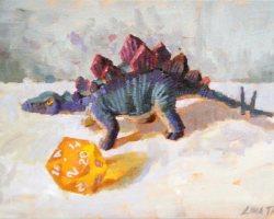 Lina Tan - Plastic Dinosaur Toy, 20 Sided Dice (2019) - Acrylic on Canvas Board - 25 x 36 cm (SOLD)