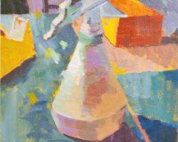 Lina Tan - Plastic Spray Bottle (2019) - Acrylic on Canvas Board - 36 x 25 cm