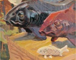 Lina Tan - Red Fish, Blue Fish (2019) - Acrylic on Canvas - 31 x 31 cm
