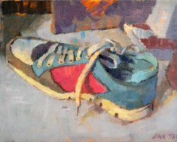 Lina Tan - Sneaker (Right Side) (2019) - Acrylic on Canvas Board - 25 x 36 cm