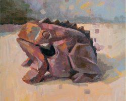 Lina Tan - Wooden Frog (2019) - Acrylic on Canvas - 40 x 40 cm