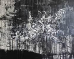 Ajim Juxta - Kelam Sebalik Awan (2019) - Acrylic on Canvas - 119.5 x 100 cm