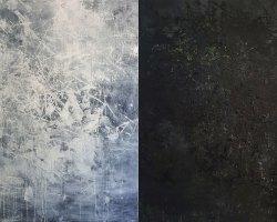 Ajim Juxta - Monomania: Putihitam (Whitewash and Blackout (2019) - Acrylic and Oil on Canvas - 153 x 244 cm (diptych)