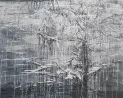 Ajim Juxta - Tugu: Melayar Tertib (2020) - Acrylic and Charcoal on Canvas - 129.5 x 129.5 cm