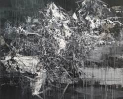 Ajim Juxta - Tugu: Menanti Letus (2020) - Acrylic on Canvas - 129.5 x 129.5 cm
