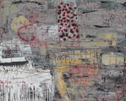 Dedy Sufriadi - Tabularasa 25.20 (2020) - Acrylic, Marker, Oil Stick and Pencil on Canvas - 150 x 150 cm