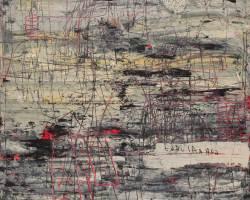 Dedy Sufriadi - Tabularasa 26.20 (2020) - Acrylic, Marker, Oil Stick and Pencil on Canvas - 150 x 150 cm