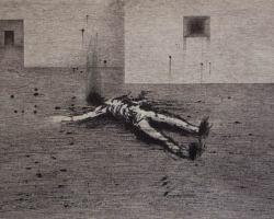 Syahbandi Samat - Dissected Sinner 1 (2019) - Ballpoint Pen on Canvas - 33 x 56 cm