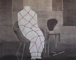 Syahbandi Samat - Rahsia (2019) - Ballpoint Pen and White Pencil on Canvas - 171 x 150 cm