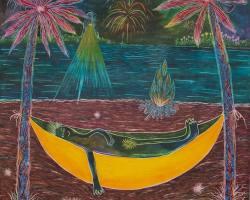CC Kua - Going Bananas III (2020) - Watercolour on Canvas - 122 x 91 cm