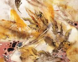 Haafiz Shahimi - Bunga Gersang I (2020) - Pyrography Print,  Inverted  Burn, Direct Petrol Burn, Rusted Chemical Wash, Fabric Dye and Acrylic on Jute - 92 x 92 cm