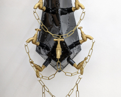 Joshua Kane Gomes - Bless Me with All My Sins III (2020) - Steel, Brass Taps, Mannequin Hands and Chain - 88 x 32 x 26 cm