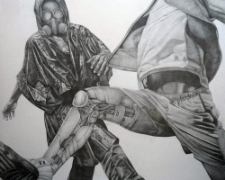 Robi-Fathoni - Play Game (2013) - Pencil on Canvas - 200 x 180 cm