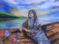 Zaimuddin Aziz - Menanti Bumi Langit IV (2015) - Oil on Batik - 152.5 x 915 cm