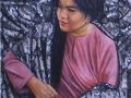 Zaimuddin Aziz - Antara Personaliti dan Warna 1 (2015) - Oil on Batik - 152.5 x 915 cm