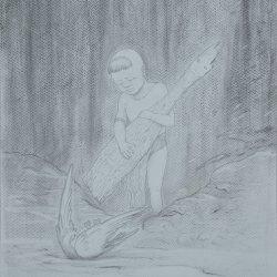 Adam K - Kinombura om Pusuansigar (2017) - Graphite on Paper - 40 x 30 cm